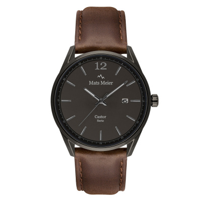 Mats Meier Castor Gunmetal/Donkerbruin horloge MM01003