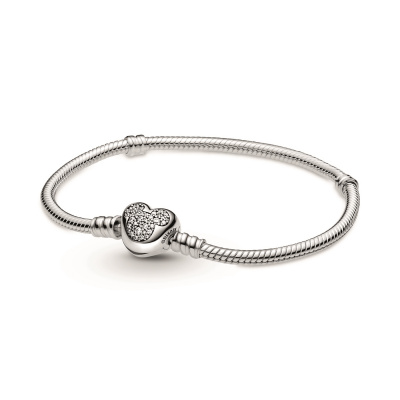 Pandora Disney 925 Sterling Zilveren Disney Mickey Mouse Heart Clasp Snake Chain Bracelet 599299C01