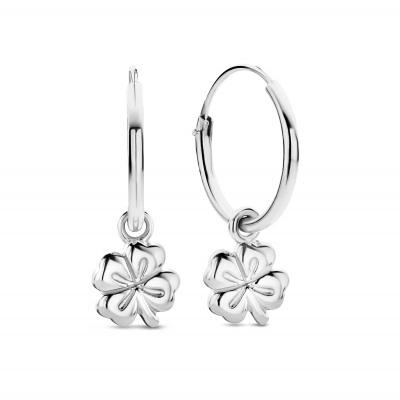 Selected Jewels Julie Olivia 925 Sterling Zilveren Creolen Met Klavertje Vier SJ360091