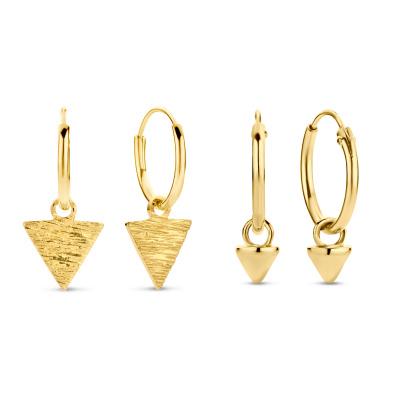 Selected Jewels Selected Gifts 925 sterling zilveren goudkleurige set oorbellen SJSET380003