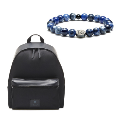 Sem Lewis Sem'S Present Zwarte Rugzak Met Blauwe Kralenarmband SL90013