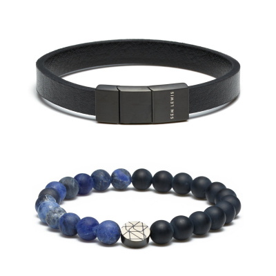Sem Lewis Sem'S Present Leren Armband Met Kralenarmband Zwart/Blauw SL90019