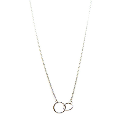 Karma Necklace Double Circle Silver Ketting T20-COL-DC-S (Lengte: 42-45 cm)