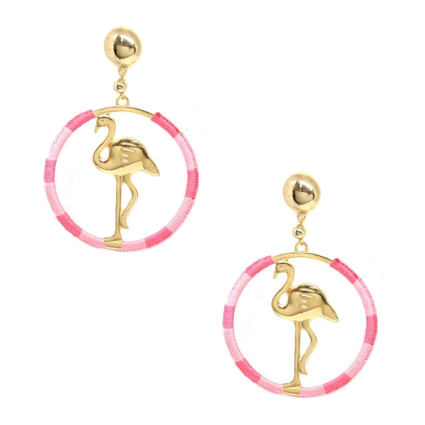 Afbeelding van Ettika Goudkleurige Pink Flamingo Oorbellen E1029.PNK.G